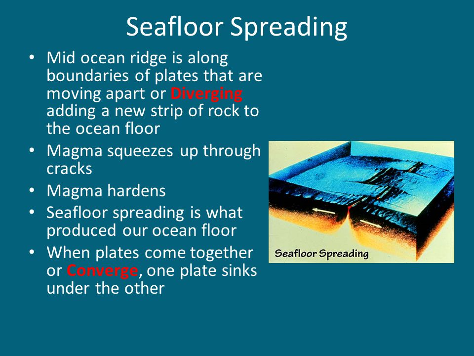 Seafloor Spreading Mid ocean ridge is along boundaries of plates that are moving apart or Diverging adding a new strip of rock to the ocean floor.