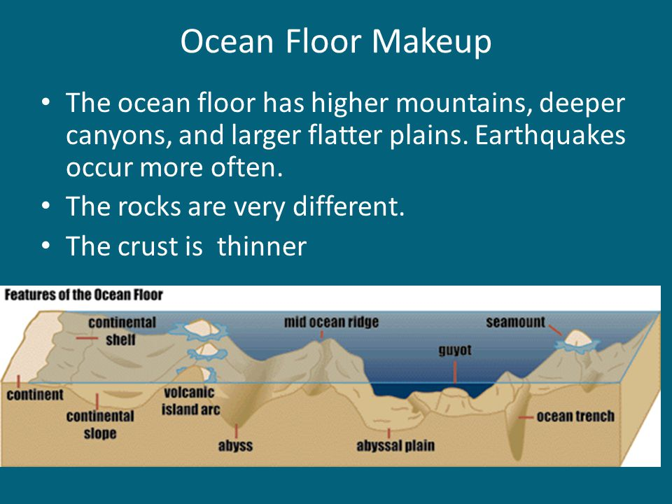 Ocean Floor Makeup The ocean floor has higher mountains, deeper canyons, and larger flatter plains. Earthquakes occur more often.
