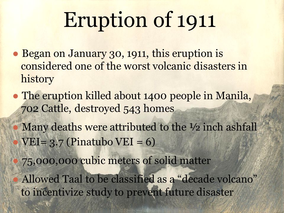 Eruption of 1911 Began on January 30, 1911, this eruption is considered one of the worst volcanic disasters in history.