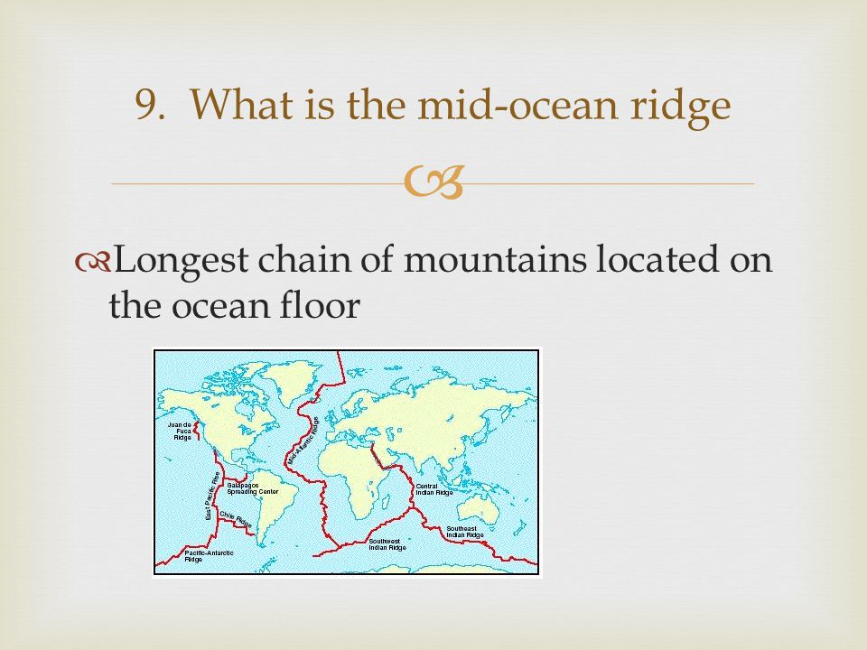 9. What is the mid-ocean ridge