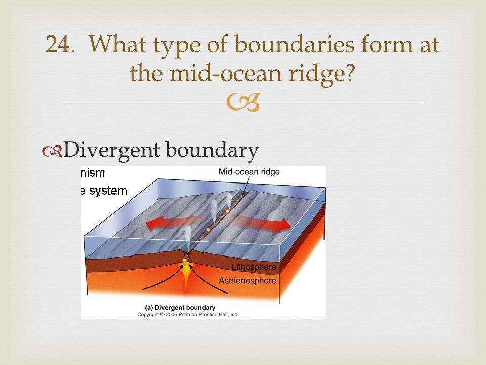 24. What type of boundaries form at the mid-ocean ridge