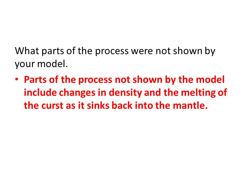 What parts of the process were not shown by your model.