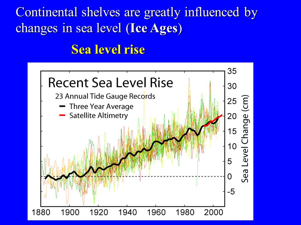 Continental shelves are greatly influenced by changes in sea level (Ice Ages)