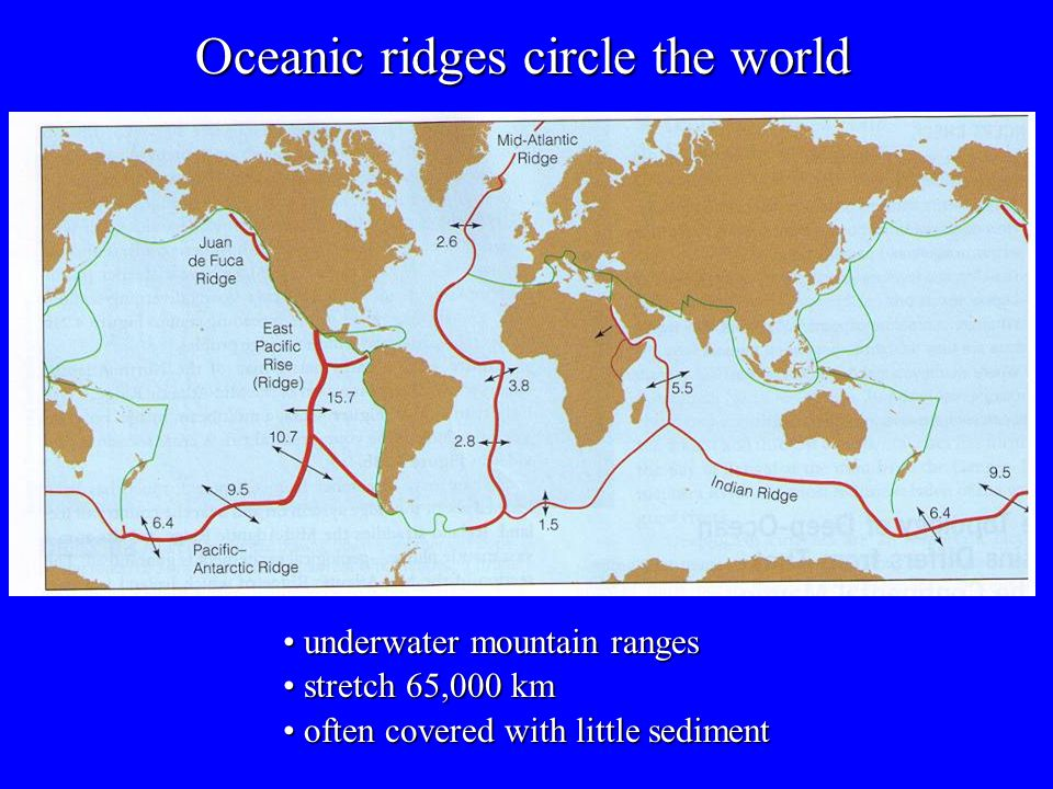 Oceanic ridges circle the world