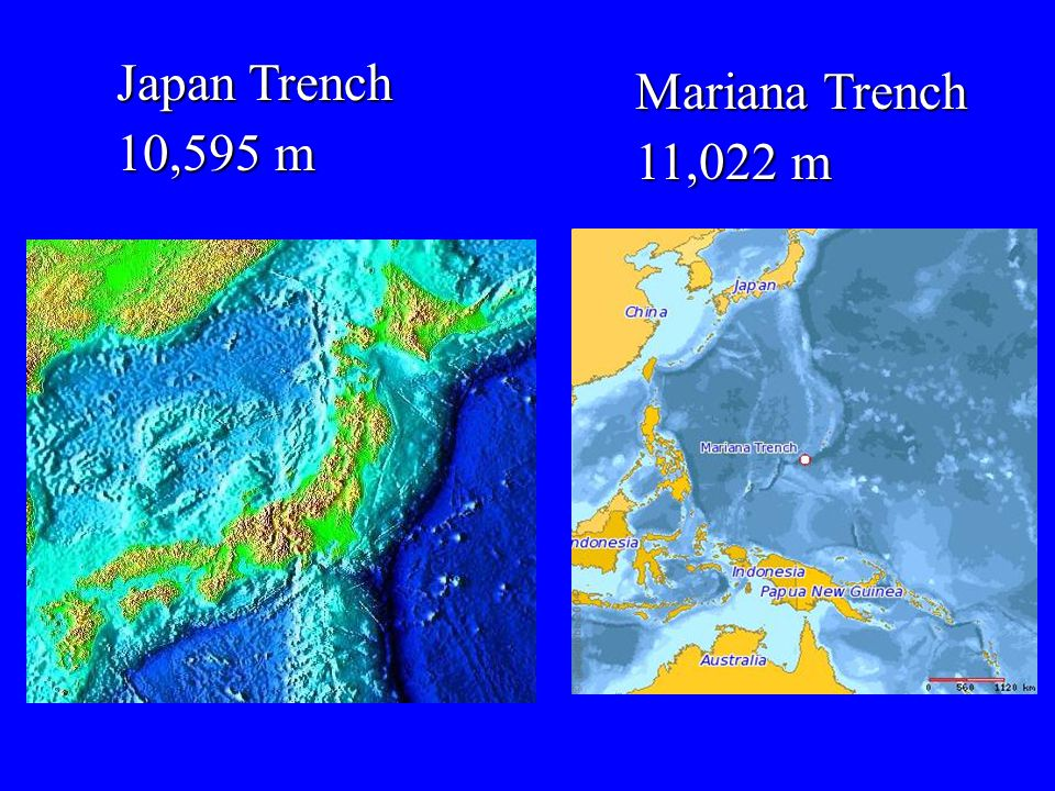 Japan Trench 10,595 m Mariana Trench 11,022 m
