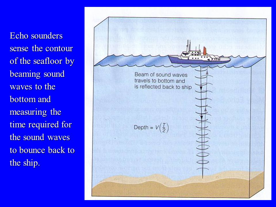Echo sounders sense the contour of the seafloor by beaming sound waves to the bottom and measuring the time required for the sound waves to bounce back to the ship.