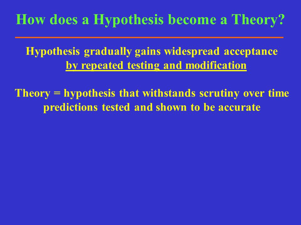 How does a Hypothesis become a Theory
