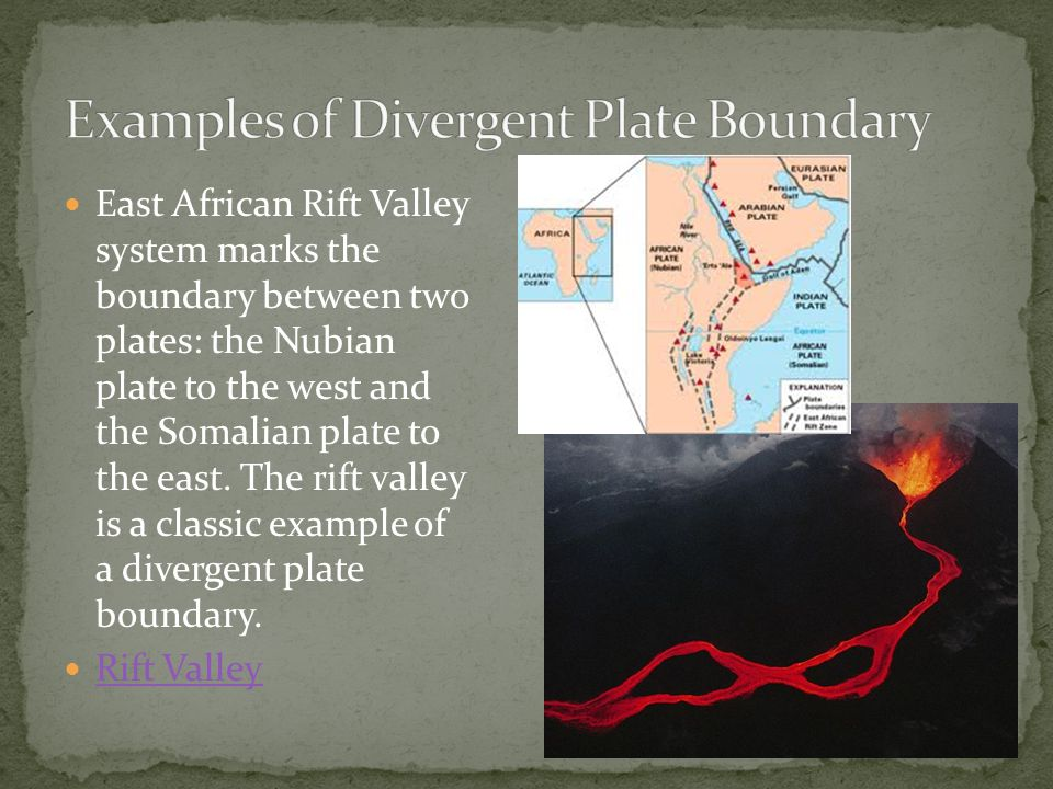 Examples of Divergent Plate Boundary