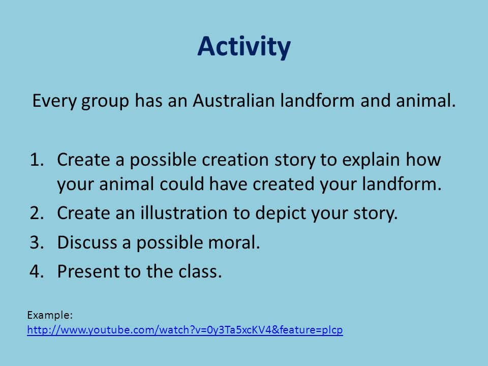 Every group has an Australian landform and animal.