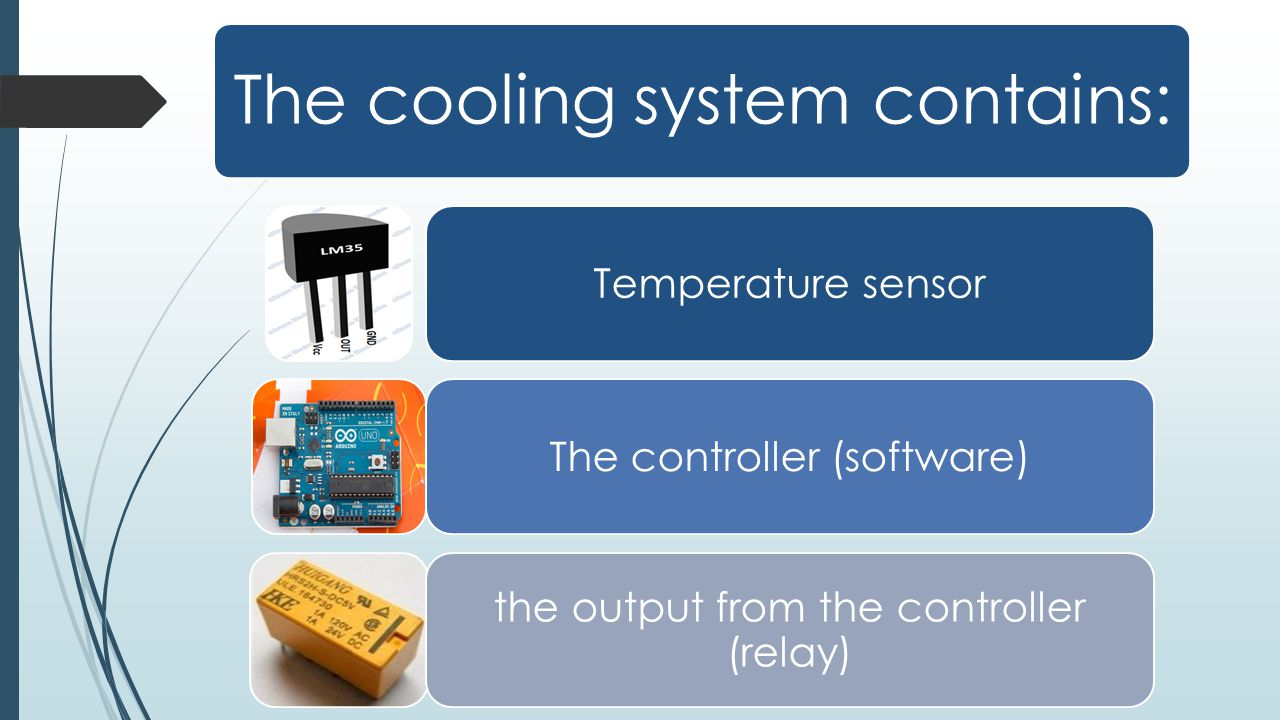 The cooling system contains: