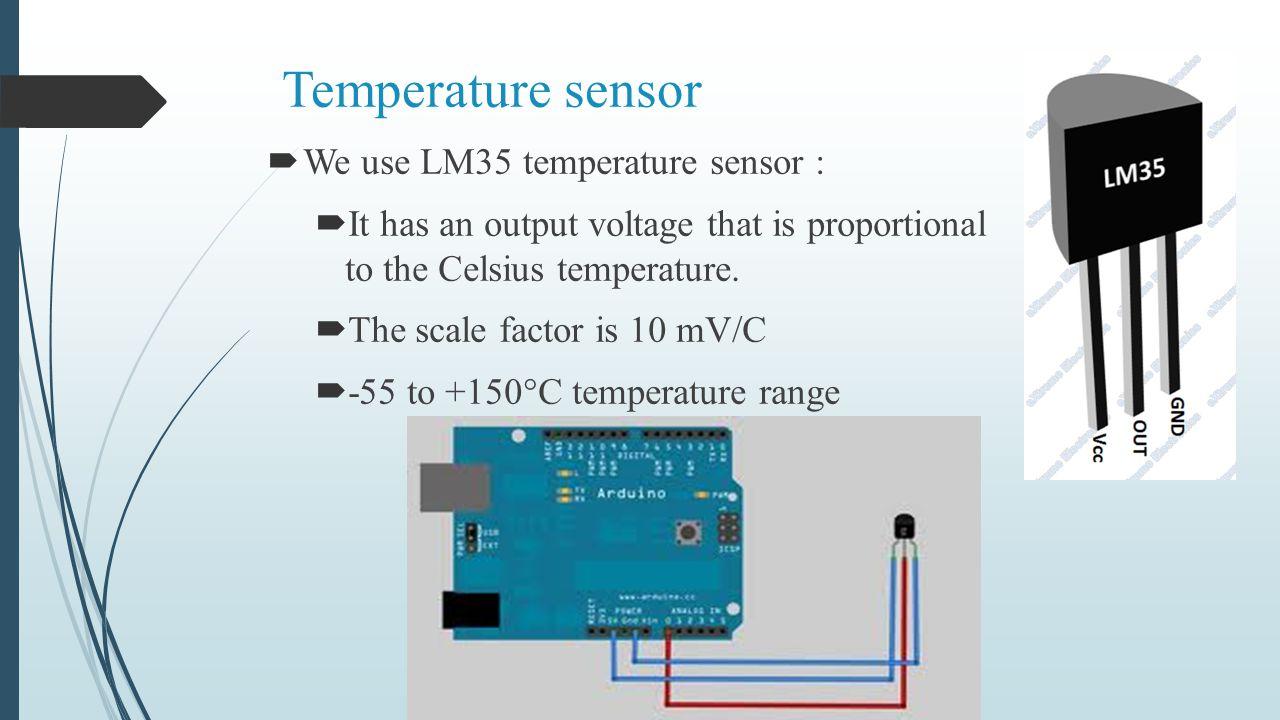 Temperature sensor We use LM35 temperature sensor :