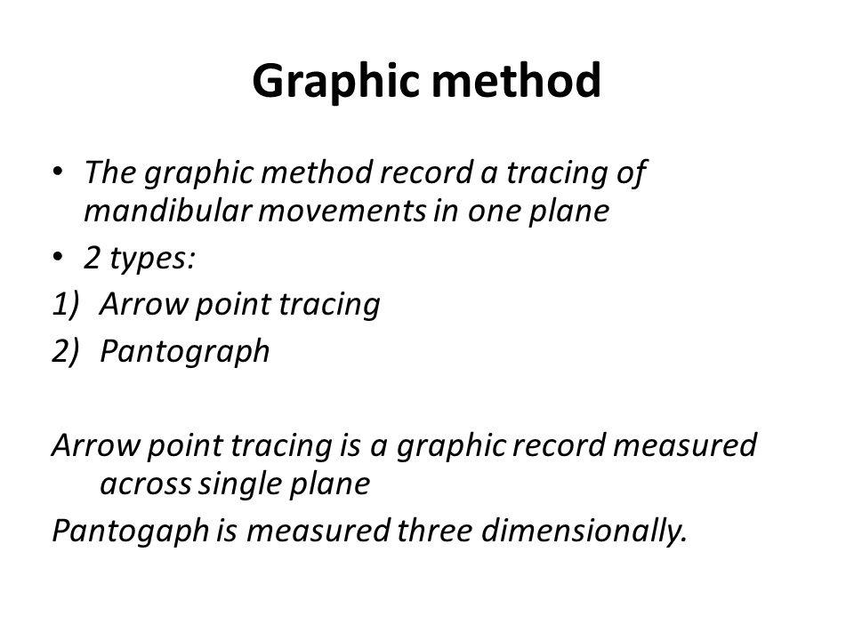 Graphic method The graphic method record a tracing of mandibular movements in one plane. 2 types: Arrow point tracing.