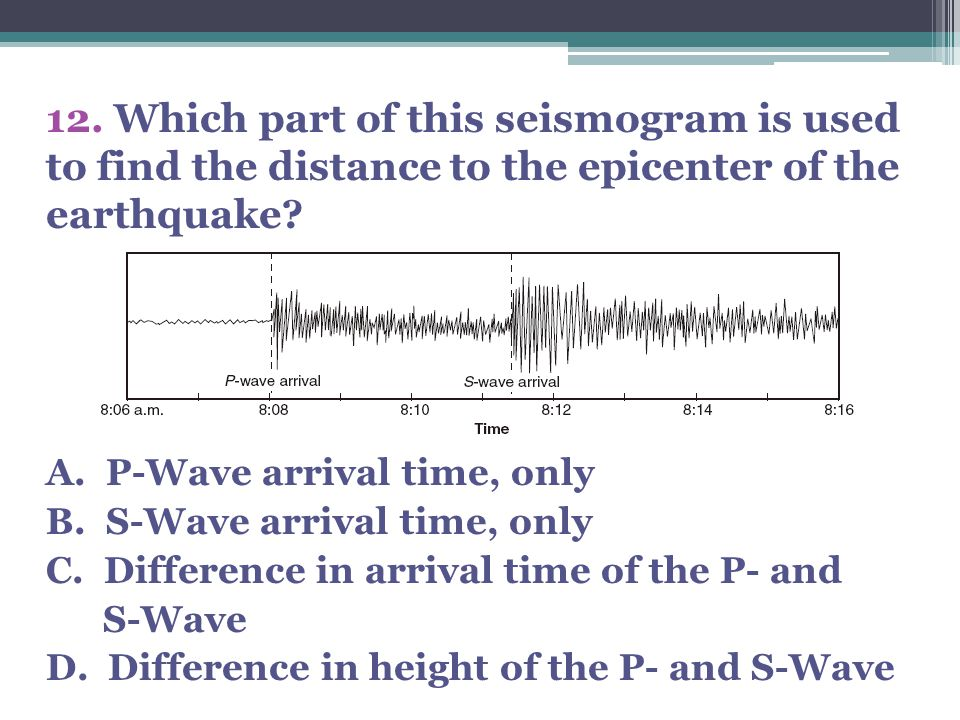 12. Which part of this seismogram is used to find the distance to the epicenter of the earthquake