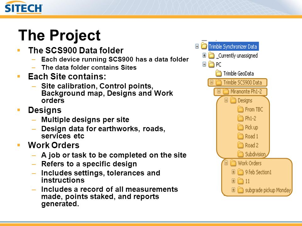 The Project The SCS900 Data folder Each Site contains: Designs