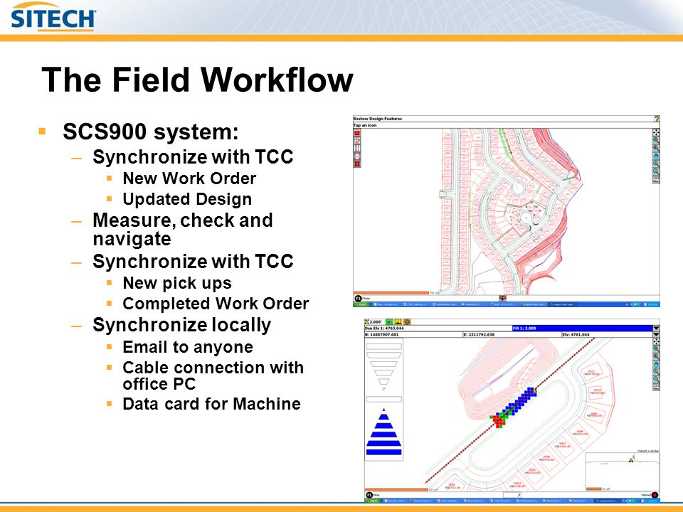 The Field Workflow SCS900 system: Synchronize with TCC