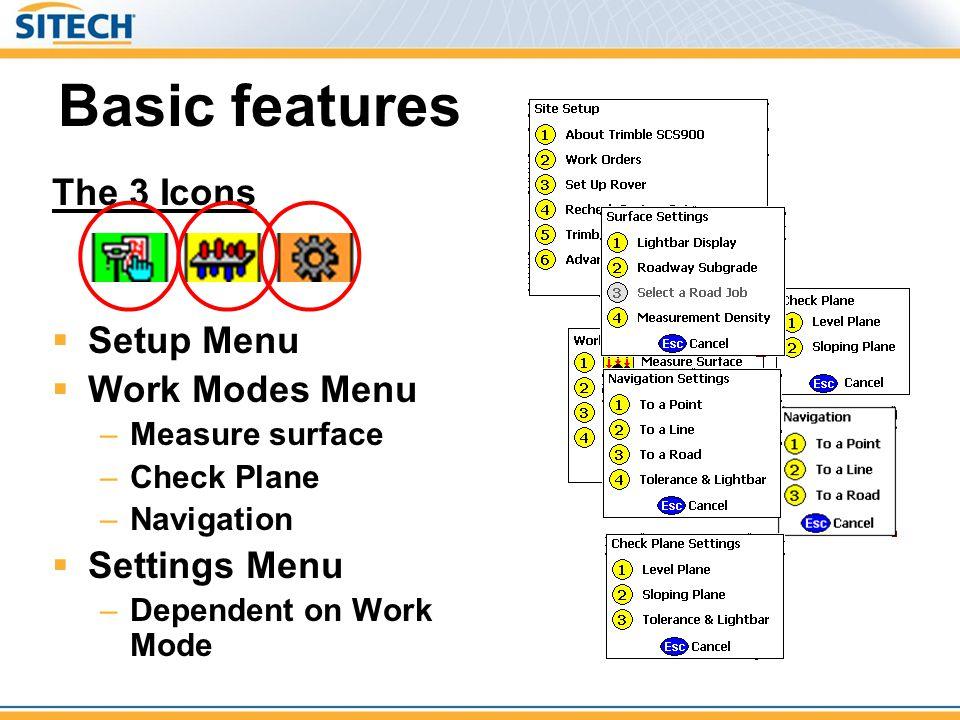 Basic features The 3 Icons Setup Menu Work Modes Menu Settings Menu