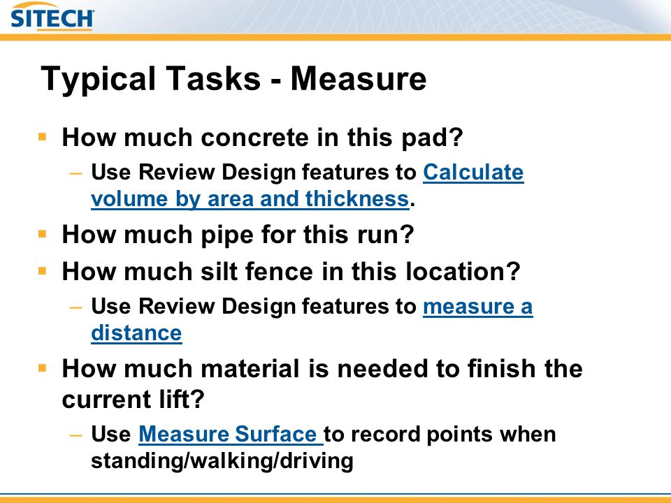 Typical Tasks - Measure
