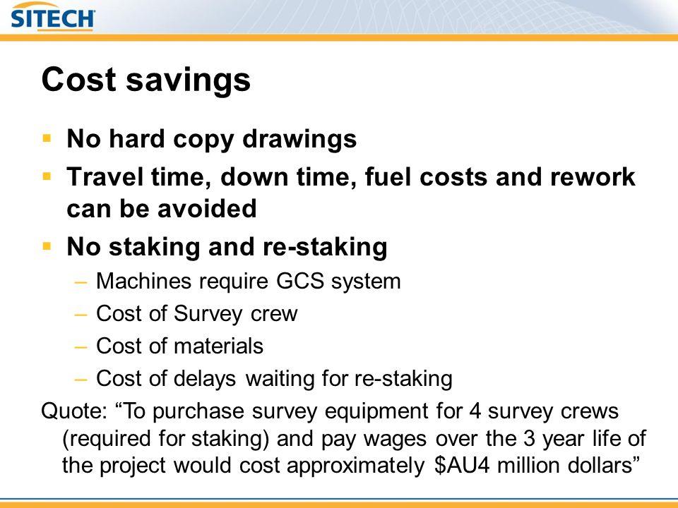 Cost savings No hard copy drawings