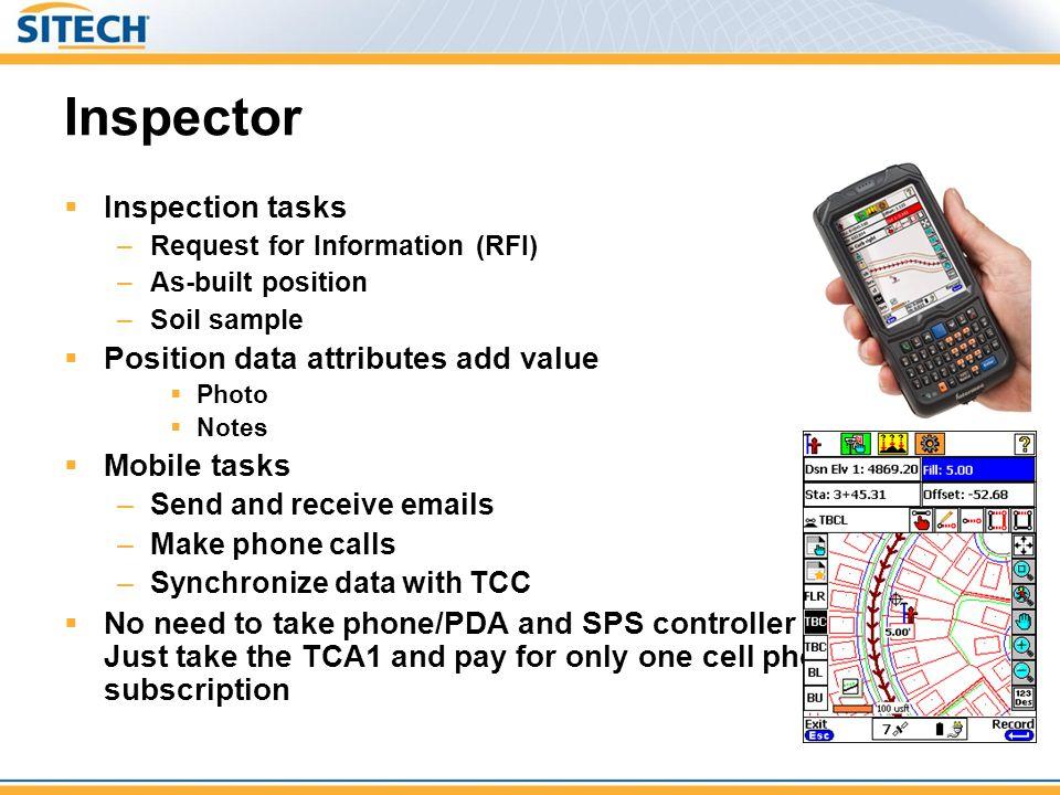 Inspector Inspection tasks Position data attributes add value