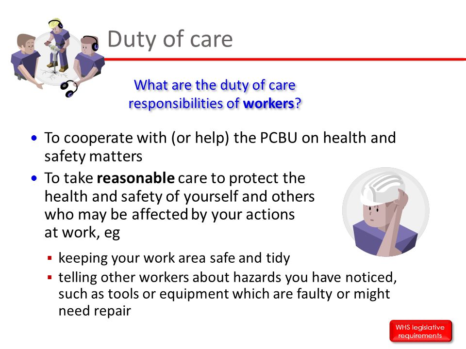 Duty of care What are the duty of care responsibilities of workers To cooperate with (or help) the PCBU on health and safety matters.