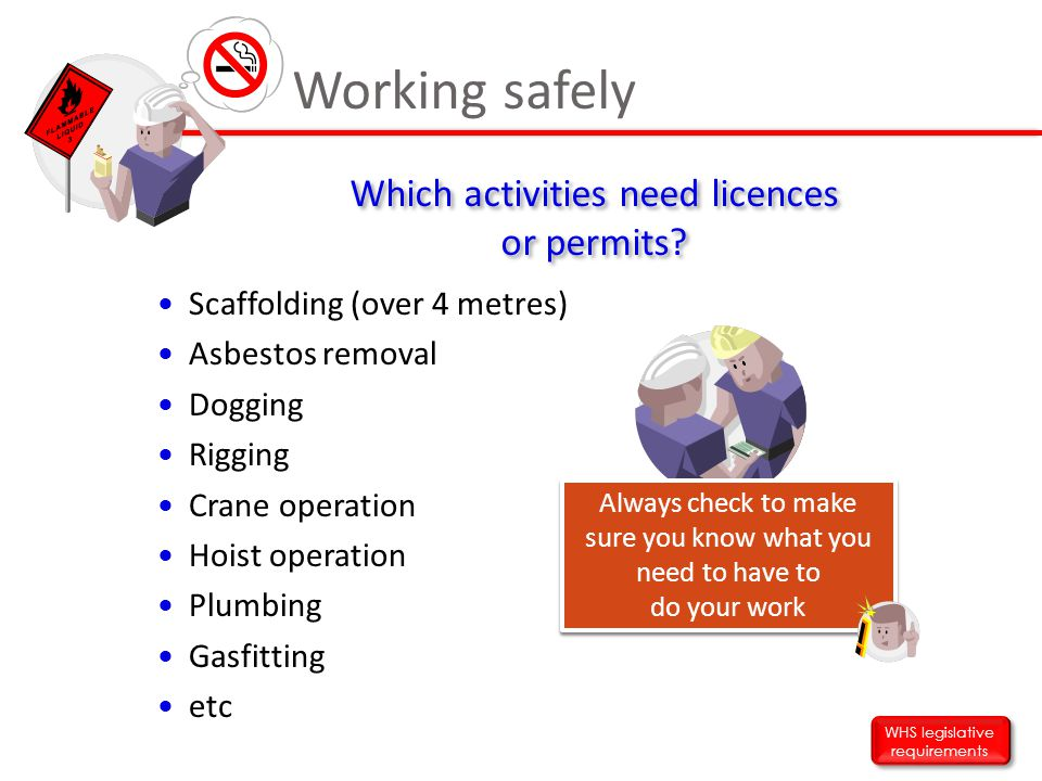 Working safely Which activities need licences or permits