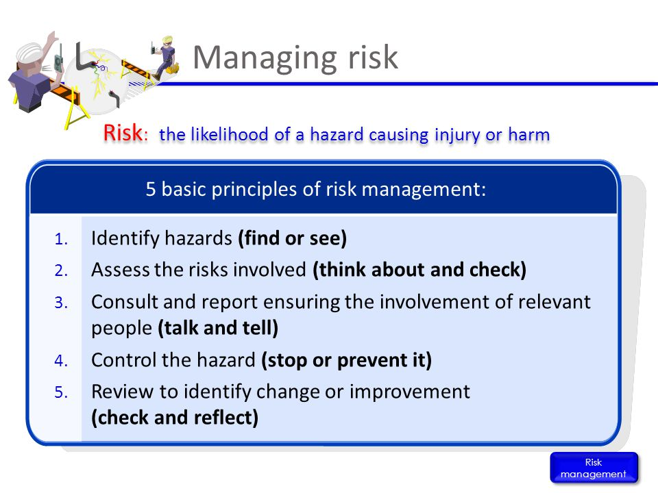 Risk: the likelihood of a hazard causing injury or harm