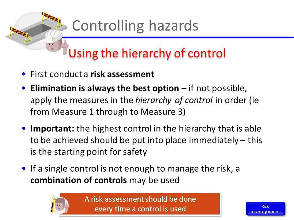 Controlling hazards Using the hierarchy of control