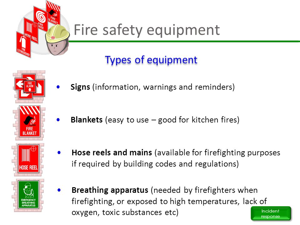 Fire safety equipment Types of equipment