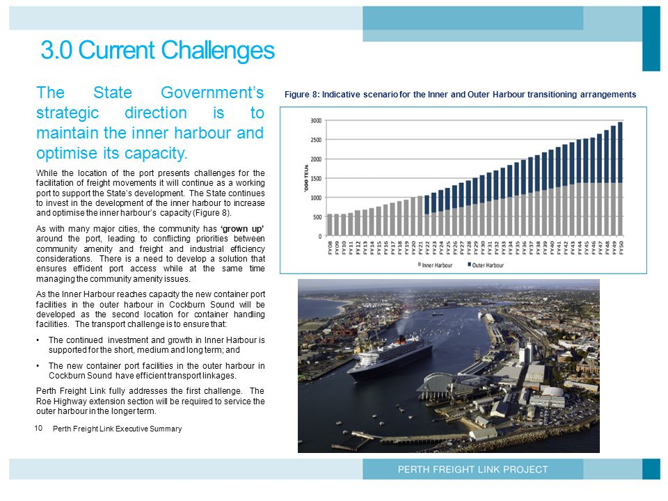 3.0 Current Challenges The State Government's strategic direction is to maintain the inner harbour and optimise its capacity.