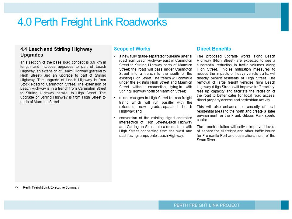 4.0 Perth Freight Link Roadworks