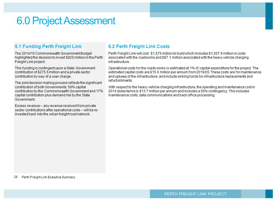 6.0 Project Assessment 6.1 Funding Perth Freight Link