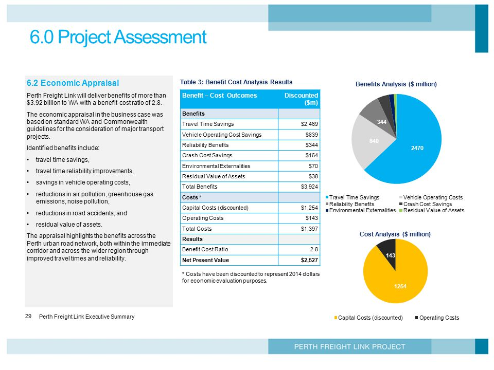 6.0 Project Assessment 6.2 Economic Appraisal