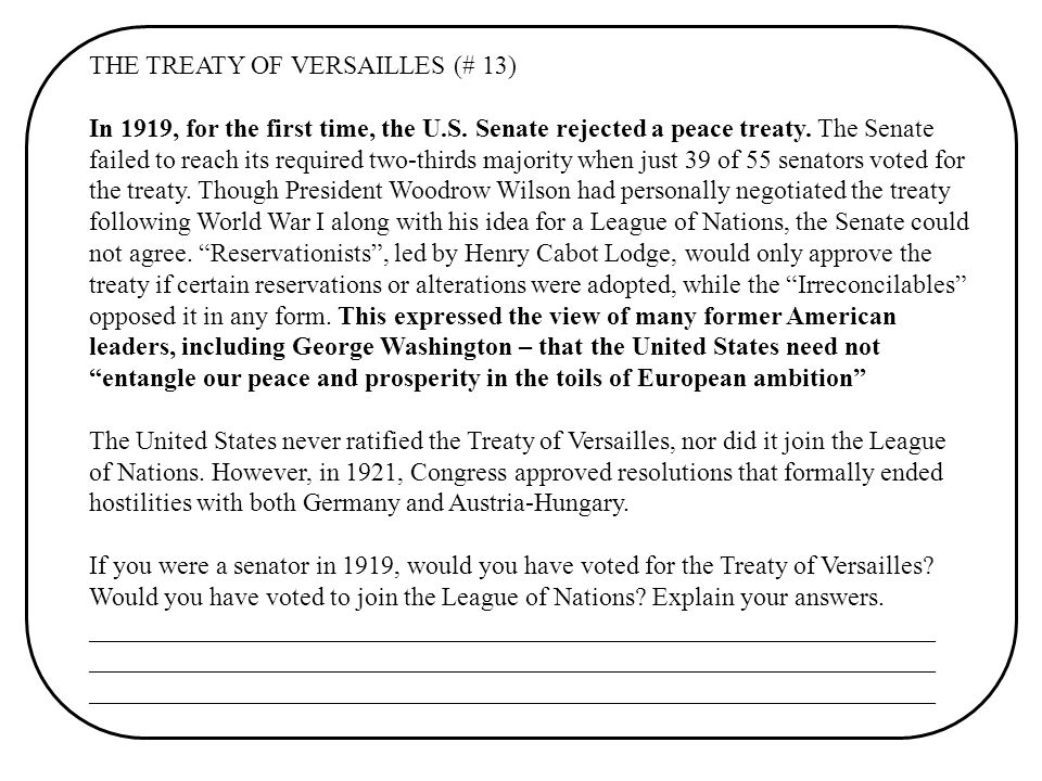 THE TREATY OF VERSAILLES (# 13)