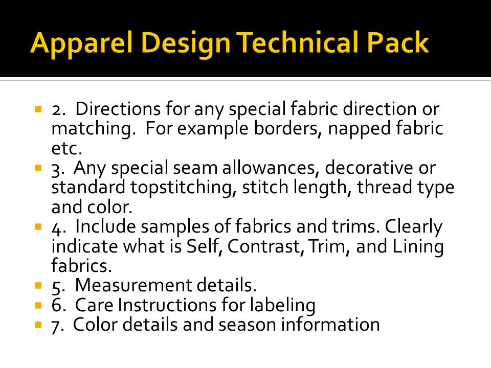 Apparel Design Technical Pack