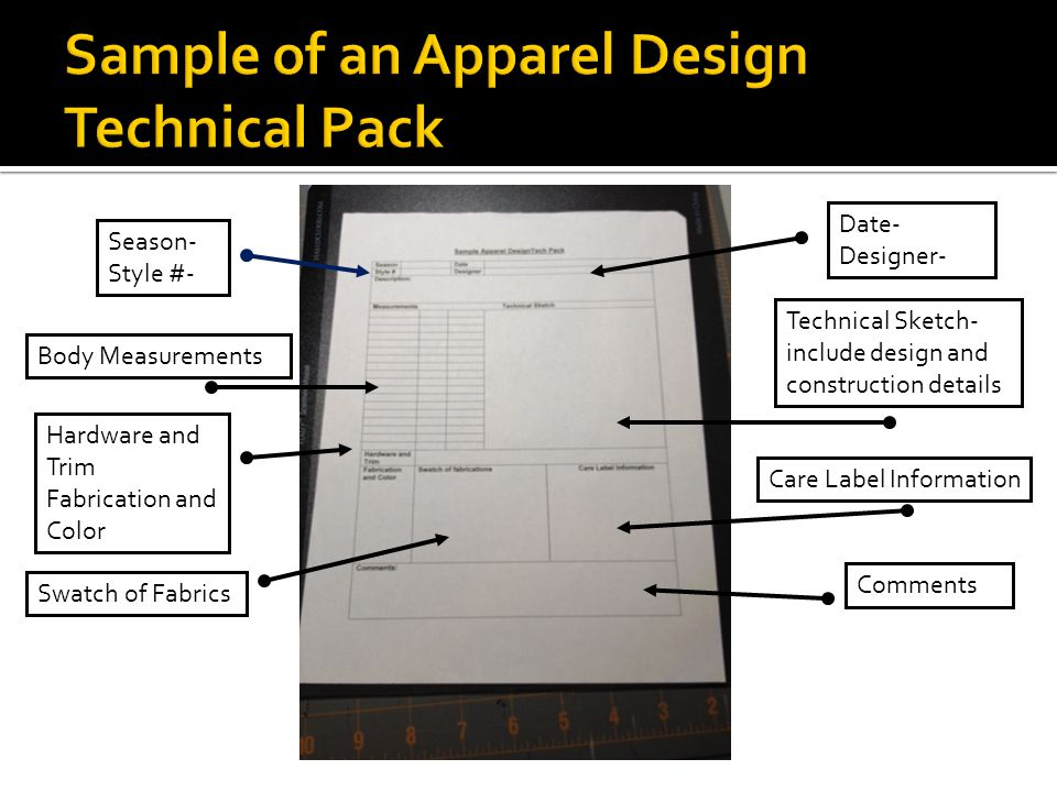 Sample of an Apparel Design Technical Pack