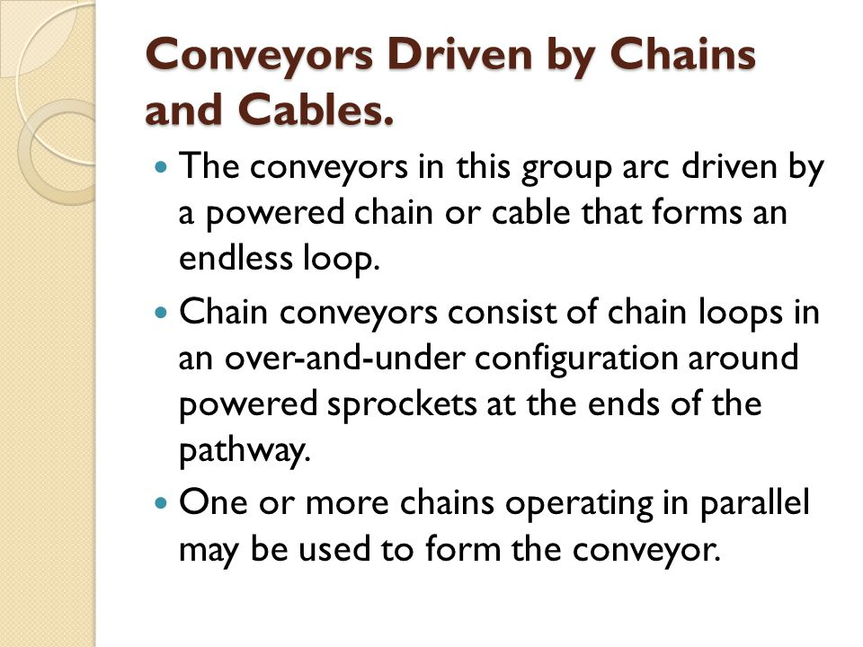 Conveyors Driven by Chains and Cables.