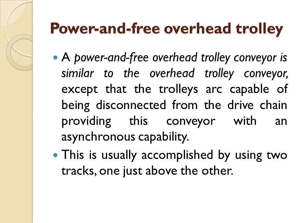 Power-and-free overhead trolley