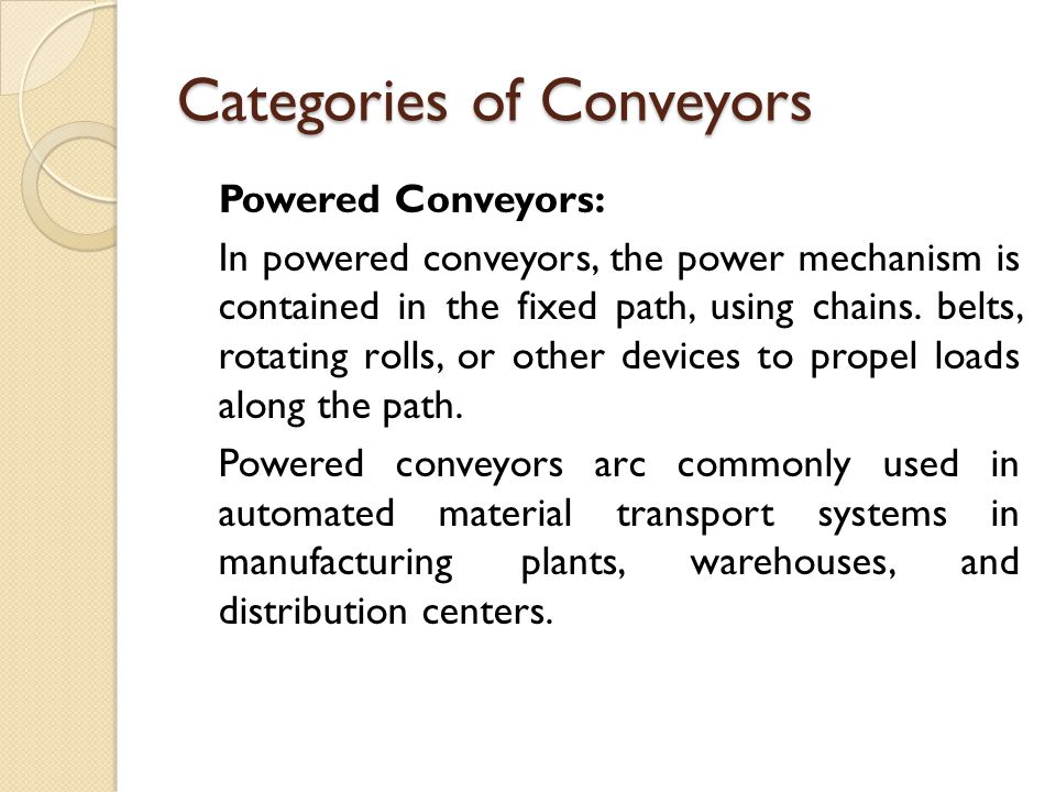 Categories of Conveyors