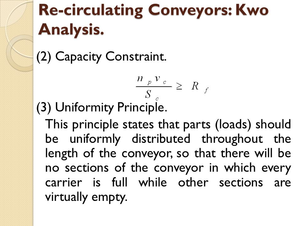 Re-circulating Conveyors: Kwo Analysis.