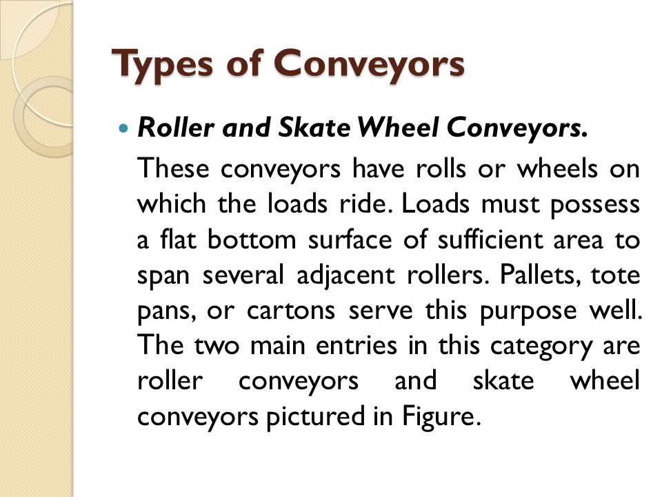 Types of Conveyors Roller and Skate Wheel Conveyors.