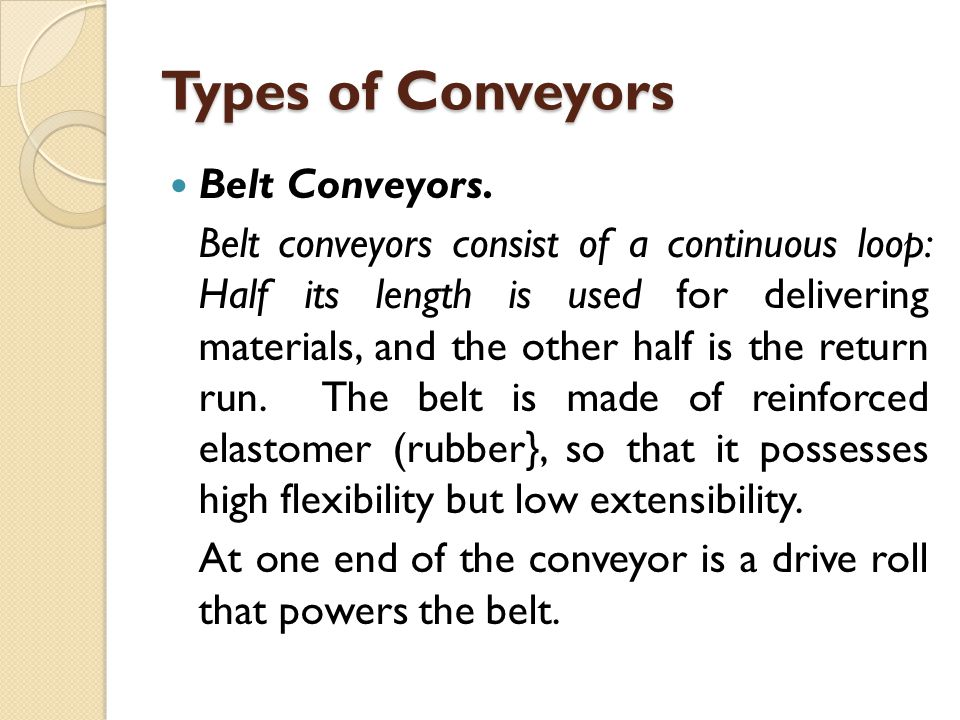 Types of Conveyors Belt Conveyors.