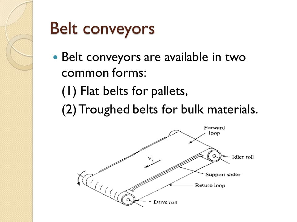 Belt conveyors Belt conveyors are available in two common forms: