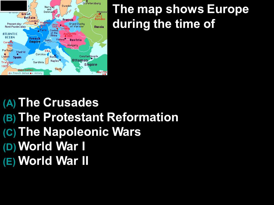The map shows Europe during the time of