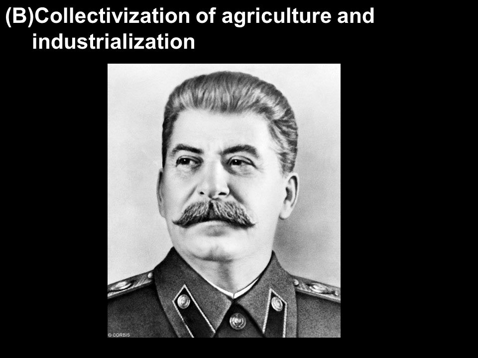 (B)Collectivization of agriculture and industrialization