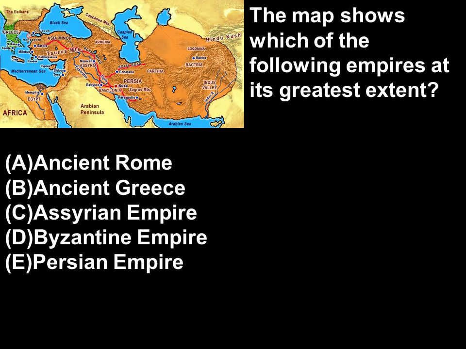 The map shows which of the following empires at its greatest extent