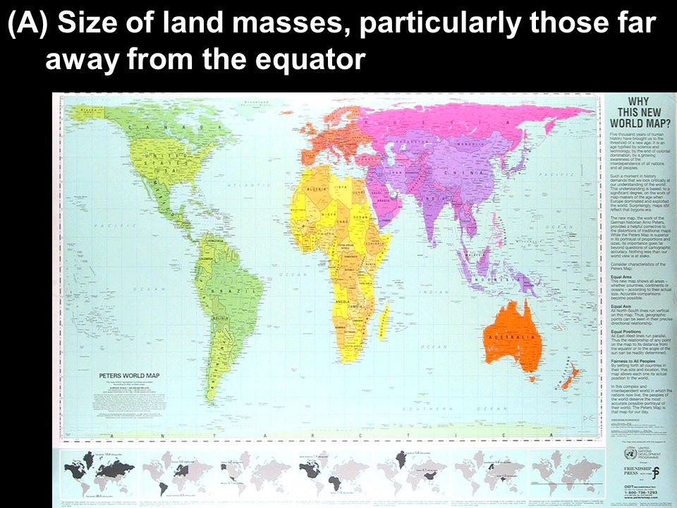 Size of land masses, particularly those far away from the equator