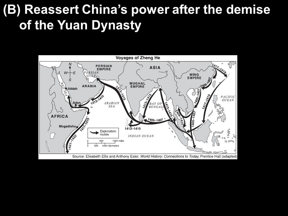 (B) Reassert China's power after the demise of the Yuan Dynasty