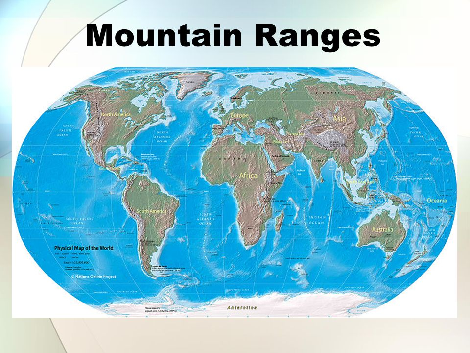 Mountain Ranges http://commons.wikimedia.org/wiki/File:Physical_world_map_3200px.jpg