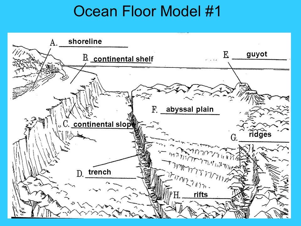 Ocean Floor Model #1 shoreline guyot continental shelf abyssal plain