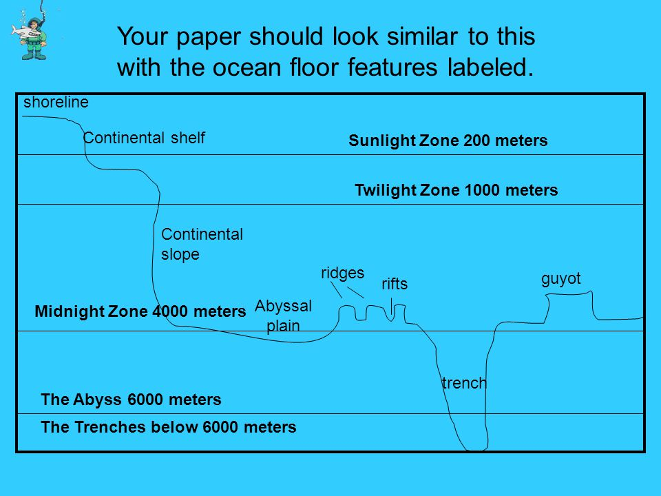 Your paper should look similar to this with the ocean floor features labeled.